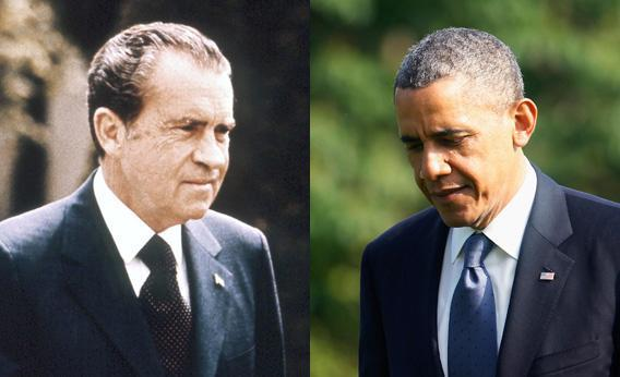 Richard Nixon (left); Barack Obama (right)
