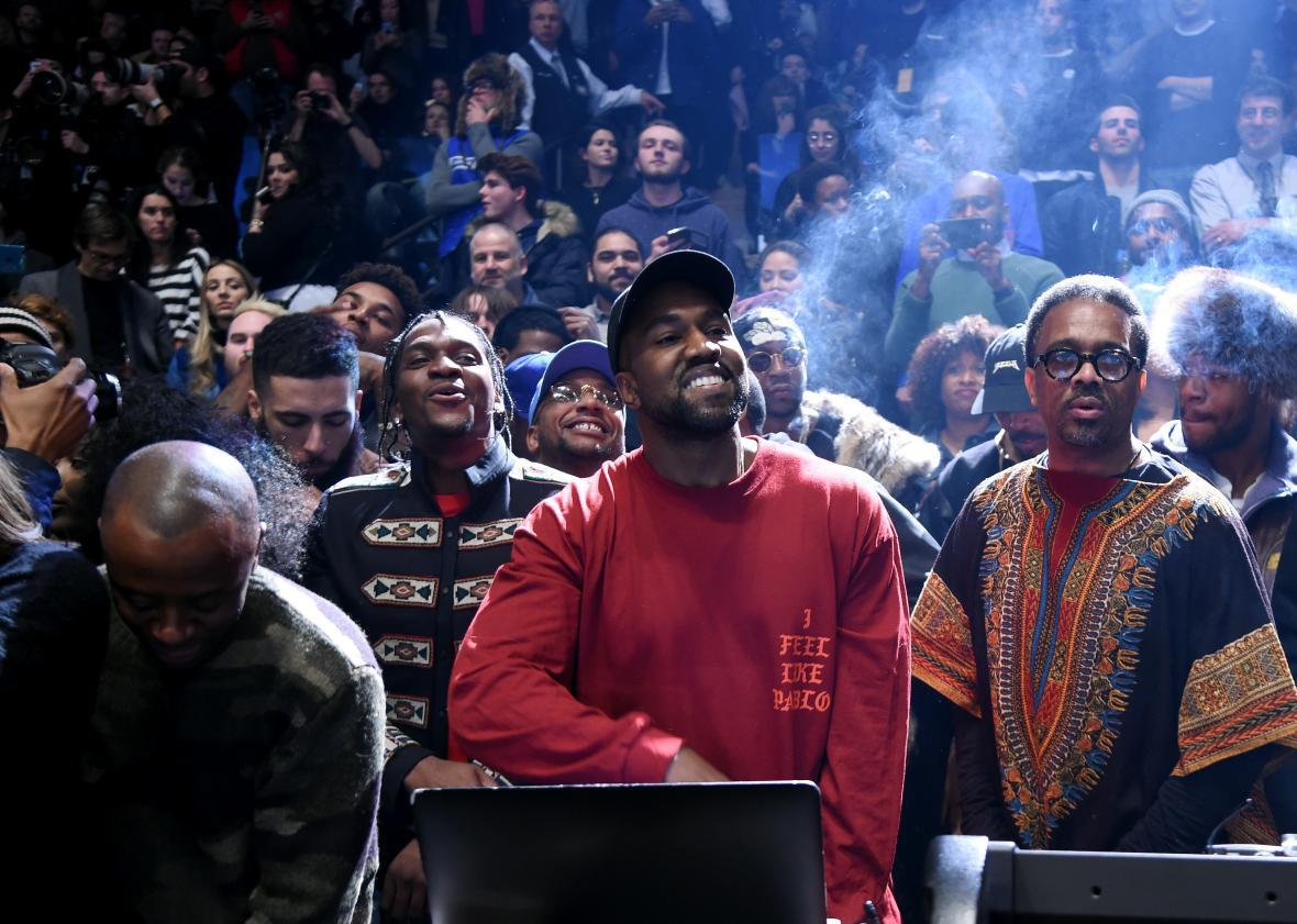 Kanye West at the debut of The Life of Pablo