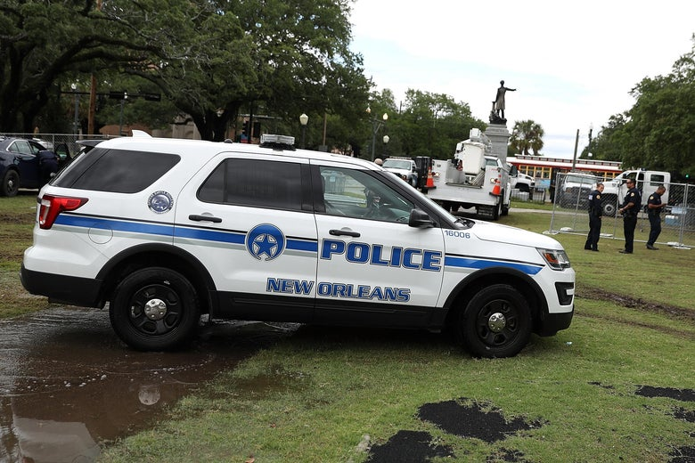 New Orleans police officers stand guard on May 4, 2017 in New Orleans, Louisiana.