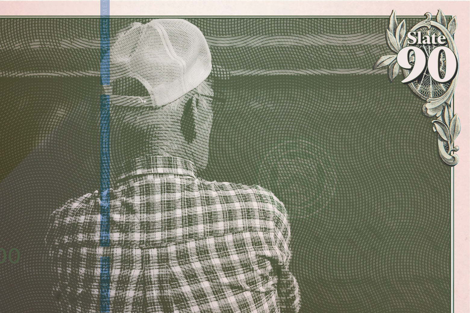 An older man in a plaid shirt and baseball cap, made to look like he's on a piece of paper money.
