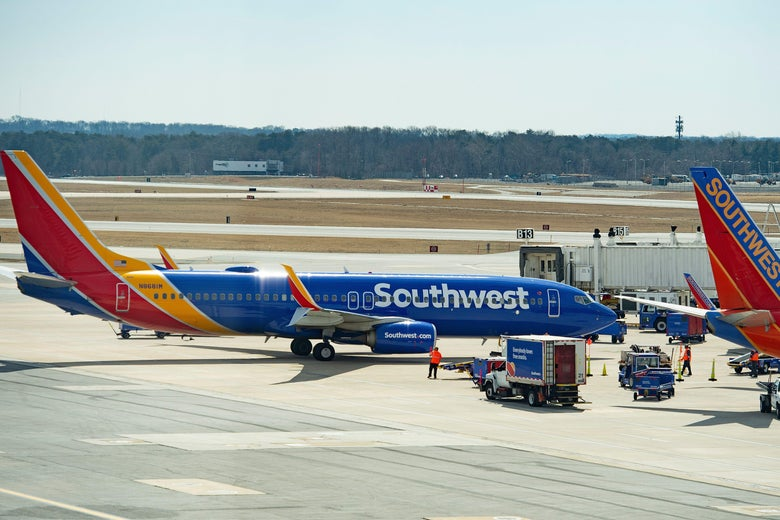 A Boeing 737 flown by Southwest Airlines taxis to the gate at BWI Airport on March 13, 2019.