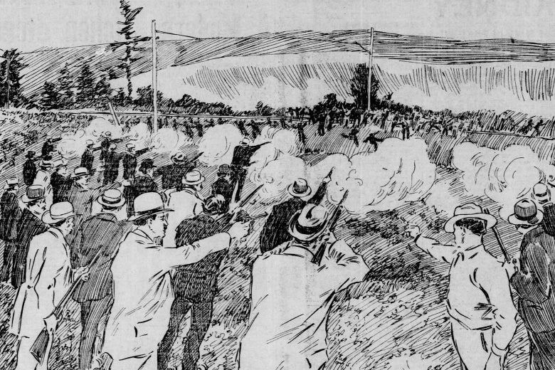 A 19th century newspaper illustration of a row of men with rifles firing into a fleeing crowd.