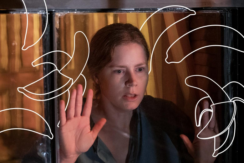 Amy Adams, framed by a window, looks exhausted and alarmed. Around her, photoshopped drawings of bananas.