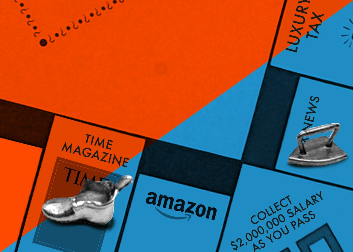 """Monopoly-like board with labels like """"Time Magazine,"""" """"Amazon,"""" """"Collect $2,000,000 Salary As You Pass,"""" and """"News"""""""