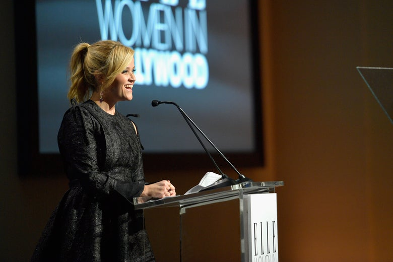 LOS ANGELES, CA - OCTOBER 16:  Reese Witherspoon speaks onstage during ELLE's 24th Annual Women in Hollywood Celebration presented by L'Oreal Paris, Real Is Rare, Real Is A Diamond and CALVIN KLEIN at Four Seasons Hotel Los Angeles at Beverly Hills on October 16, 2017 in Los Angeles, California.  (Photo by Matt Winkelmeyer/Getty Images for ELLE)