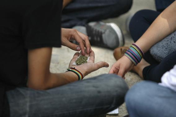 A man holds shredded marijuana in the palm of his hand during a 4/20 rally to demand the legalization of marijuana outside the Senate building in Mexico City.