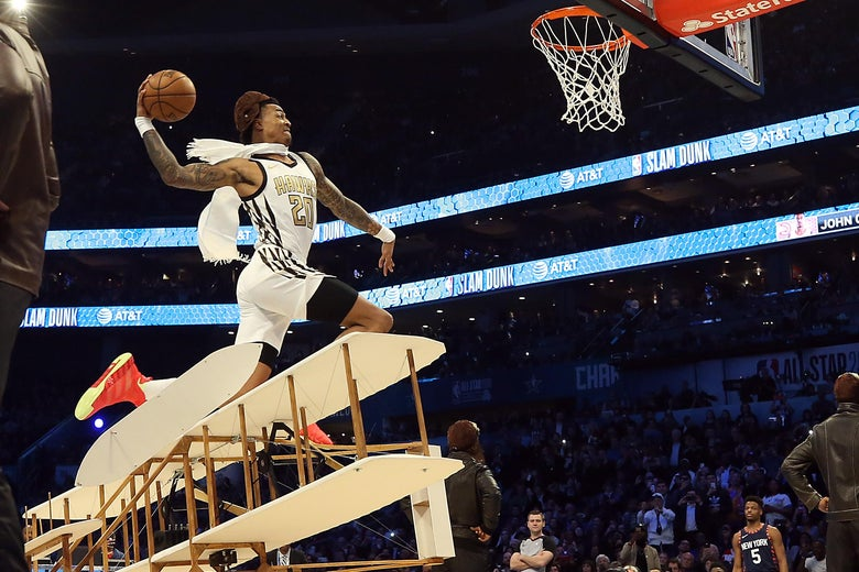 CHARLOTTE, NORTH CAROLINA - FEBRUARY 16: John Collins #20 of the Atlanta Hawks goes up for a dunk during the AT&T Slam Dunk as part of the 2019 NBA All-Star Weekend at Spectrum Center on February 16, 2019 in Charlotte, North Carolina. (Photo by Streeter Lecka/Getty Images)