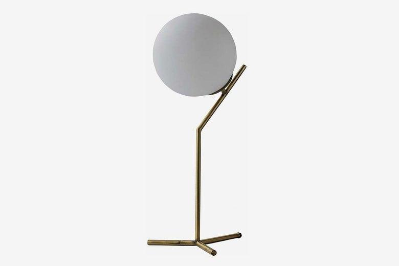 Rivet Mid Century Modern Glass Ball Metal Table Desk Lamp with LED Light Bulb
