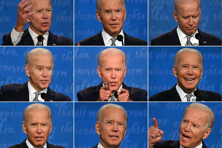 A combination of pictures showing Joe Biden during the first presidential debate.
