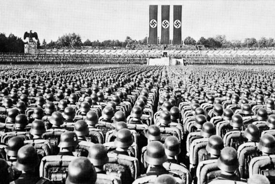 Parade of the SS Guard, the Nazi elite, at a party rally in Nuremberg, Germany, in the late 1930s.