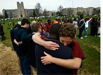 Mourners at Virginia Tech. Click image to expand.