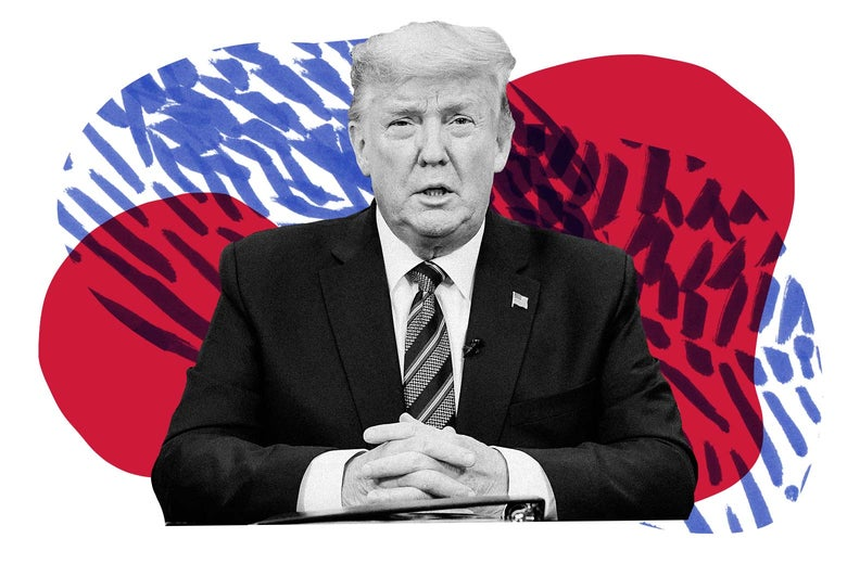 Donald Trump, with folded hands