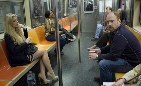 "Ashley Beach and Louis C. K. in the Louie episode ""Subway"" airing Thursday, July 28 on FX."