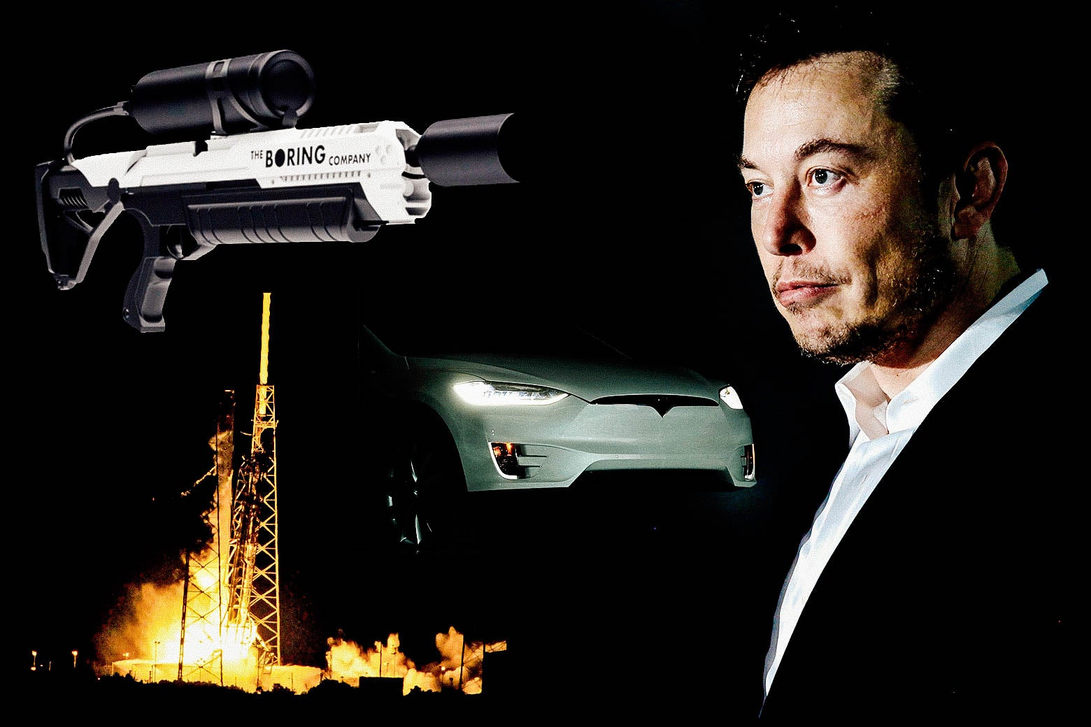 A collage of a Boring Company flamethrower, a Tesla, a SpaceX launch, and Elon Musk.