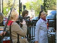Labor candidate Oona King campaigns at Bethnal Green tube station         Click image to expand.