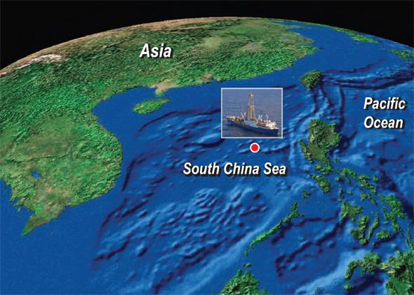 Map of the South China Sea, with inset of the drilling ship JOIDES Resolution.