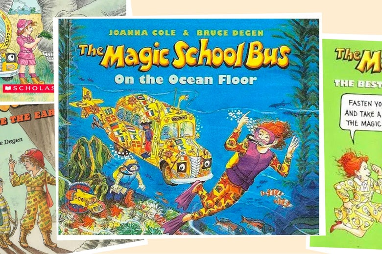 the covers of several Magic School Bus books, featuring Ms Frizzle