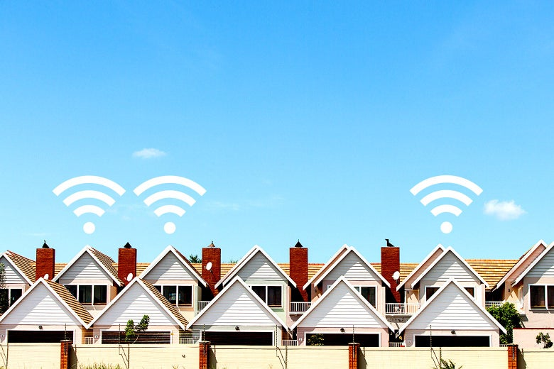 A row of house where three of them have wifi signal.