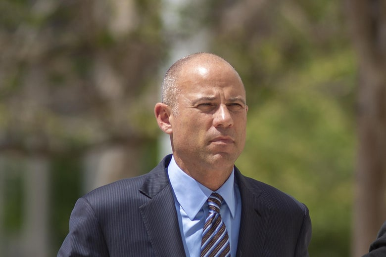 Michael Avenatti arrives for his first hearing in Santa Ana federal court on bank and wire fraud charges on April 1, 2019 in Santa Ana, California.