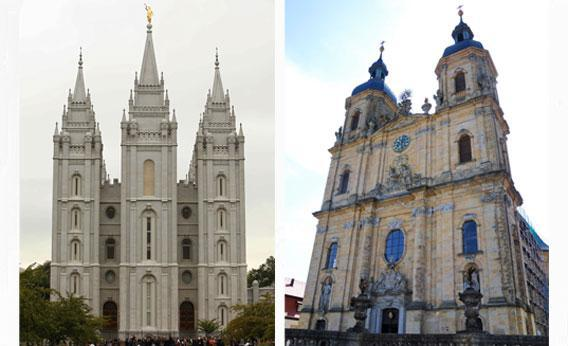 Mormon Salt Lake temple and Basilica Of Goessweinstein.