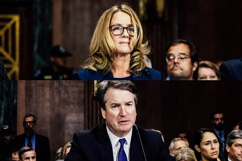 Christine Blasey Ford and Brett Kavanaugh, testifying separately before the Senate Judiciary Committee.