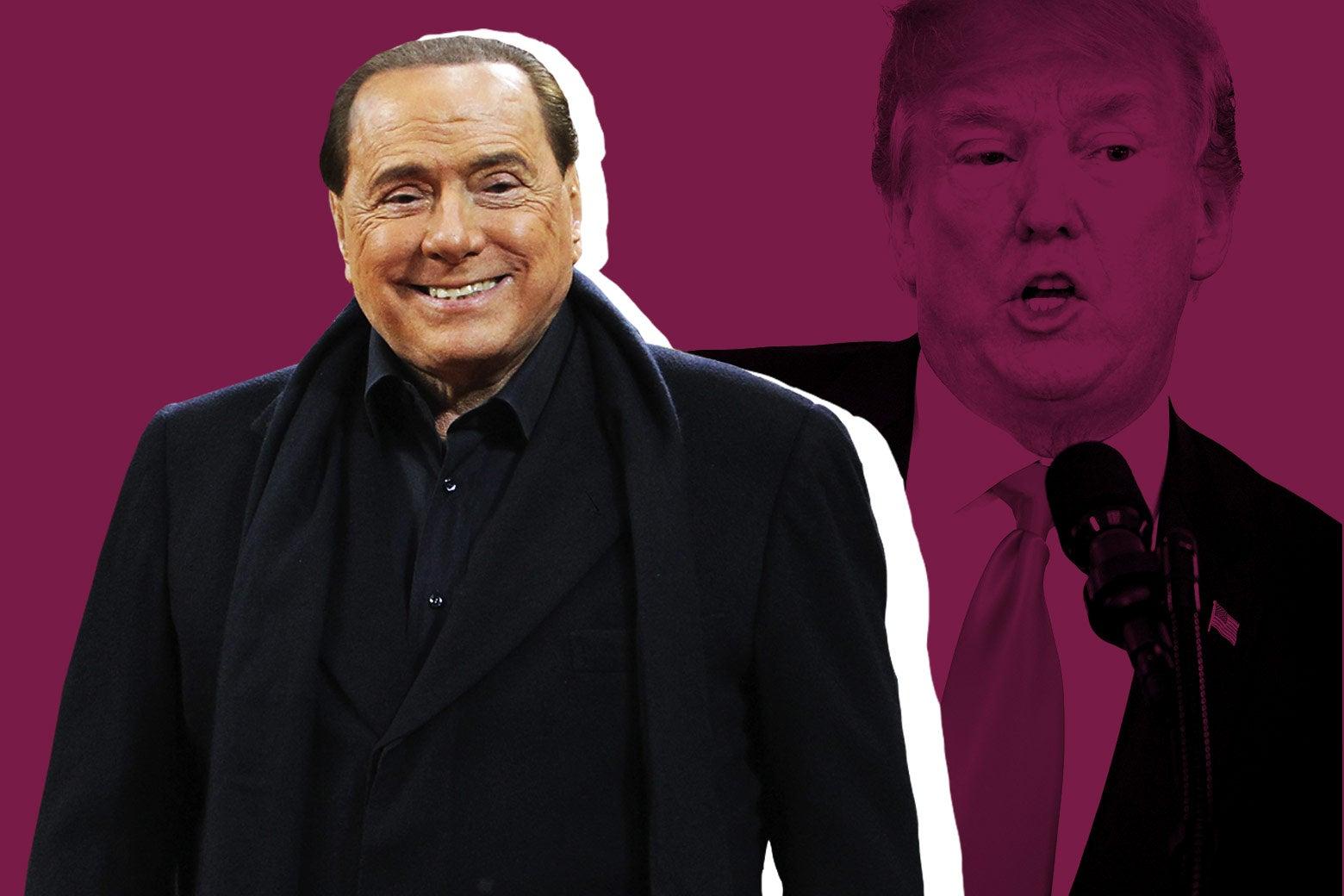 Silvio Berlusconi and President Donald Trump.