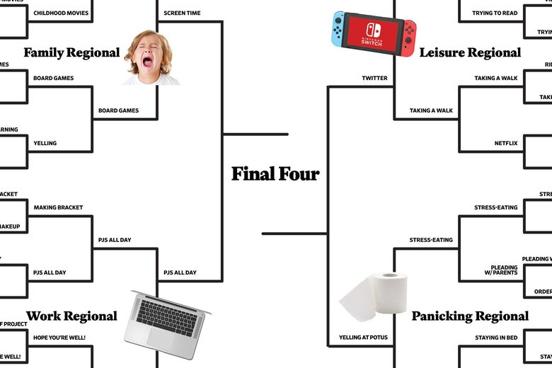 A detail of the Final Four portion of the bracket