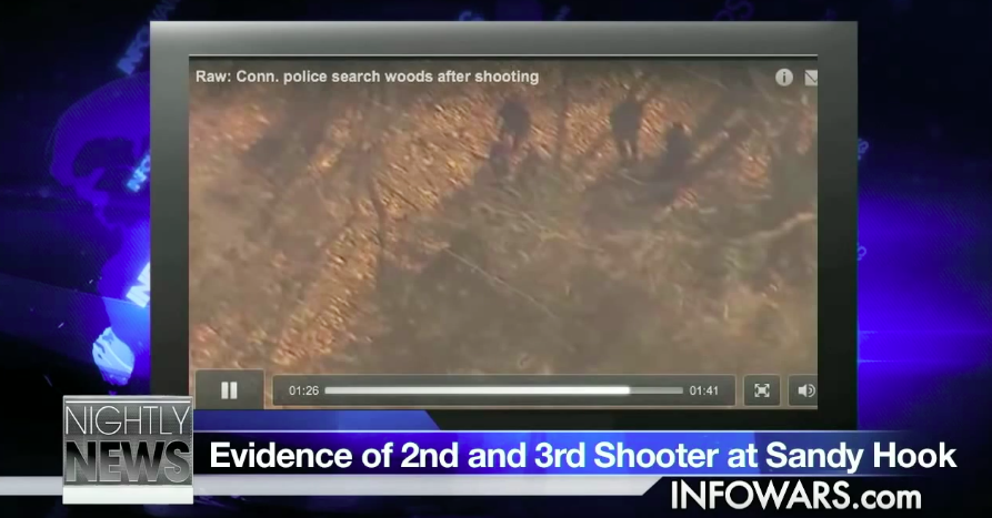 "Screenshot of a YouTube video on the Alex Jones channel about how the Sandy Hook Massacre was a ""A DHS Illusion"""
