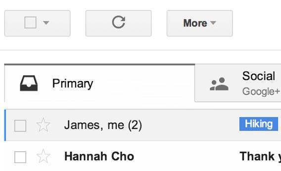 Gmail's new tabbed interface.
