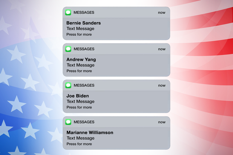 A phone screen showing texts from 2020 presidential candidates