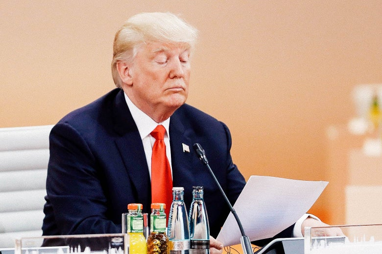President Donald Trump reads a document on the second day of the G20 economic summit on July 8, 2017 in Hamburg, Germany.