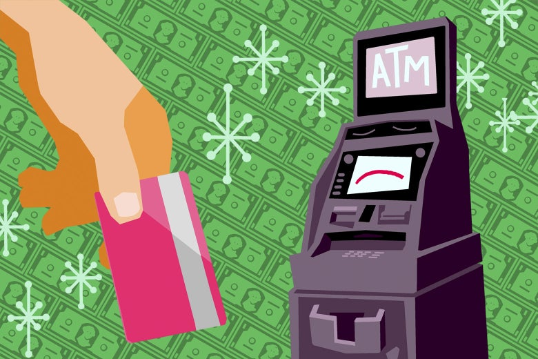 Illustration of a hand holding a pink credit or debit card with an ATM in the background. The background is money.