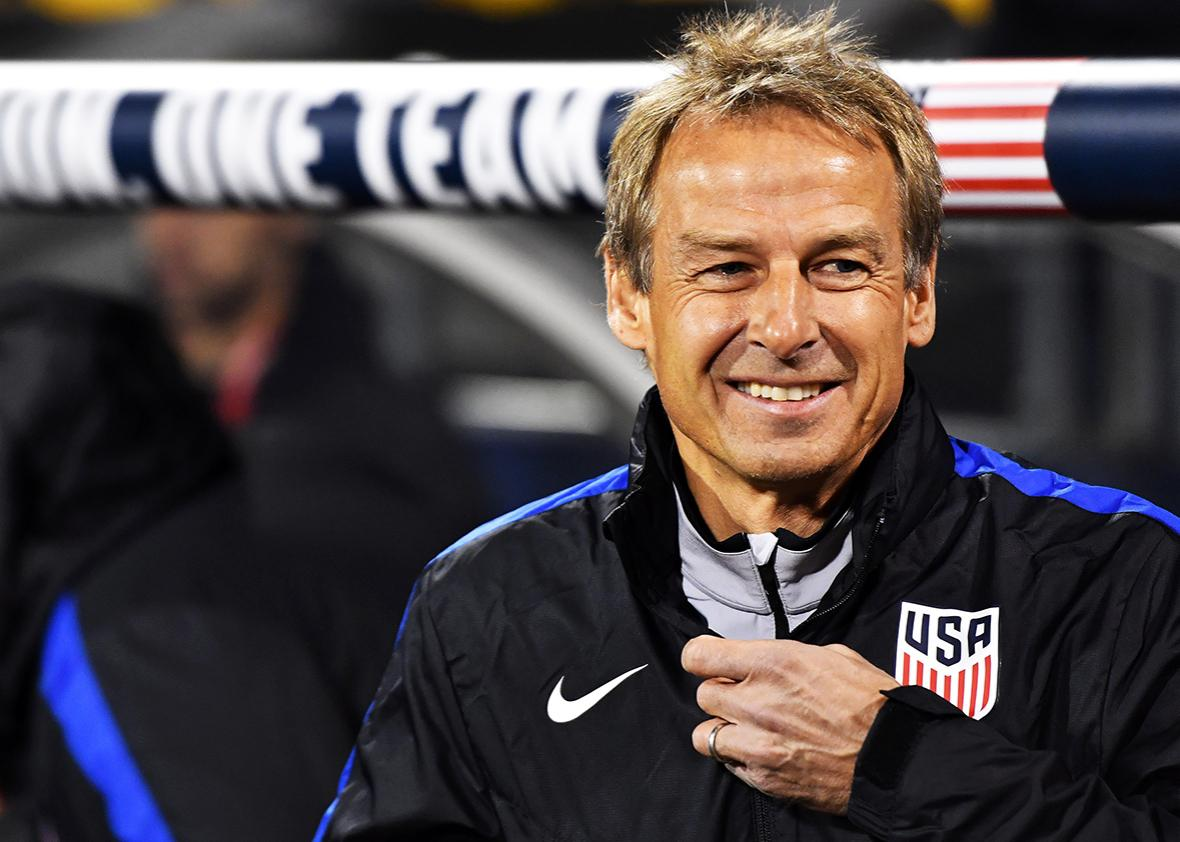 Head coach Jrgen Klinsmann of the United States looks on against Mexico in the first half during the FIFA 2018 World Cup Qualifier at MAPFRE Stadium on November 11, 2016 in Columbus, Ohio.
