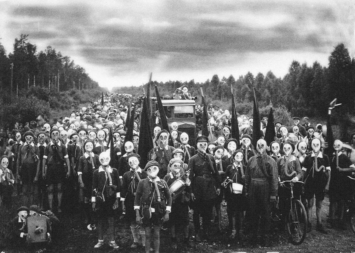 Young scouts practice chemical-attack preparedness in Leningrad,