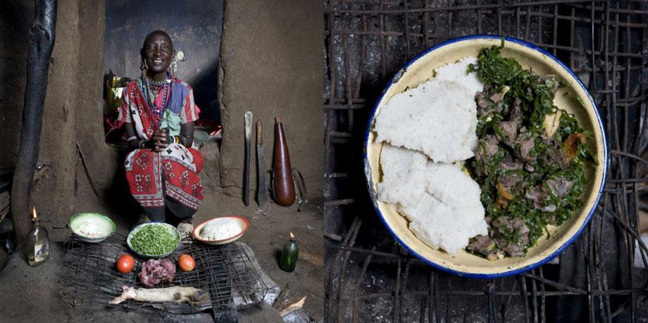 Normita Sambu Arap, 65 years old – Oltepessi (masaai mara) Kenya –– Mboga and orgali (white corn polenta with vegetables and goat)
