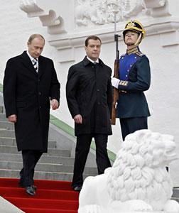 Vladimir Putin and Dmitry Medvedev. Click image to expand.