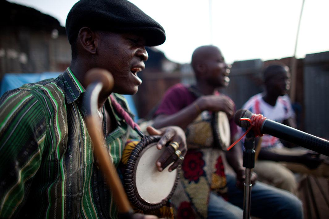 Lagos, Nigeria- Drumming plays a significant role in each match. Before the fight begins, musicians play songs of praise devoted to each fighter, letting fans know the fight is about to begin.