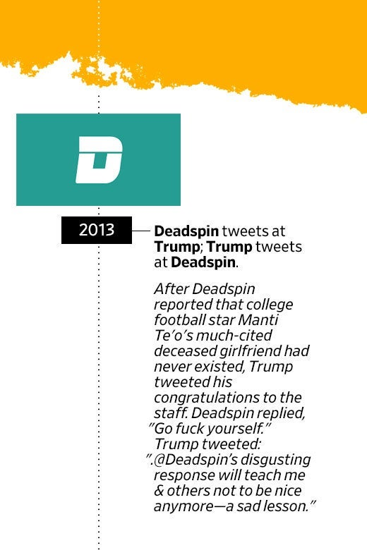 "Deadspin logo. In 2013, Deadspin tweets at Trump; Trump tweets at Deadspin. After Deadspin reported that college football star Manti Te'o's much-cited deceased girlfriend had never existed, Trump tweeted his congratulations to the staff. Deadspin replied, ""Go fuck yourself."" Trump tweeted: ""Deadspin's disgusting response will teach me and others not to be nice anymore—a sad lesson."""