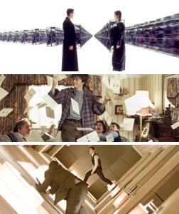 """Stills from """"The Matrix"""", """"Harry Potter and the Sorcerer's Stone"""", and """"Inception."""""""