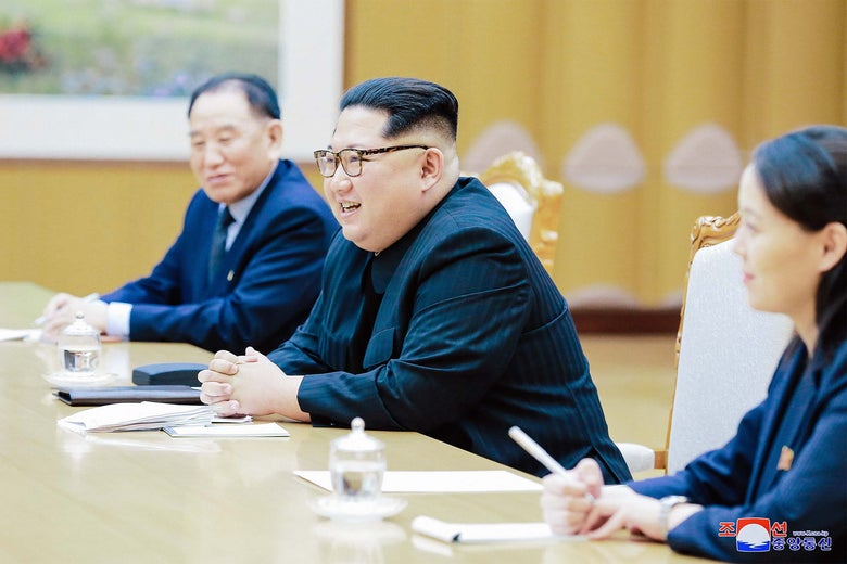 North Korean leader Kim Jong-un meets members of the special delegation of South Korea's president.