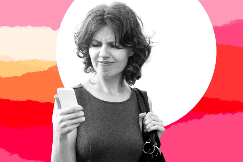 Photo illustration of a mom looking with anger at a cellphone.
