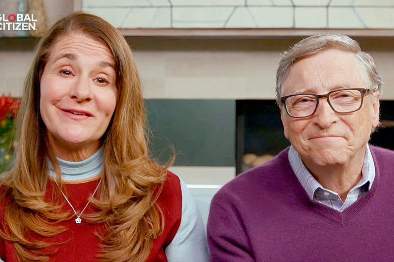 Screenshot of Melinda Gates and Bill Gates sitting next to each other and smiling at the camera