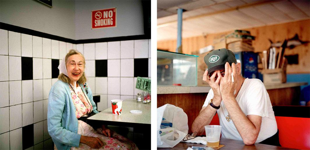Left: Last Stop Diner, 2002. This image is from my very first trip shooting photographs in the Rockaways, in the summer of 2002. I returned to the diner with a print to give to the woman and asked the owner and wait staff if they knew how I might find her, but I never saw her again. Over the years, I became used to subjects who would come into my life and suddenly disappear without a trace. Right: Hiding, 2002. When I photographed this man at the Sand Bar at the beginning of my project, he covered his face. Soon after, I realized that some of the bar's patrons were living next door at the Park Inn, an adult residency for the mentally ill.