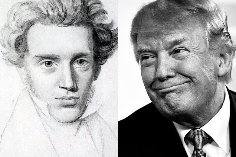 Side-by-side of a sketch of Kierkegaard and a photo of Trump