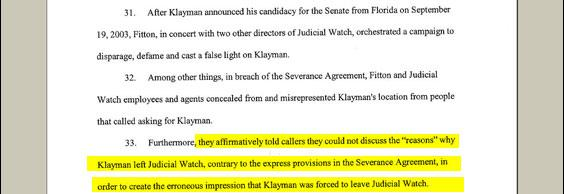 "Given Klayman's history of suing people, it just sounds like good sense that Klayman's former colleagues declined to characterize his departure, even to praise him. But Klayman says even silence is ""disparagement."""