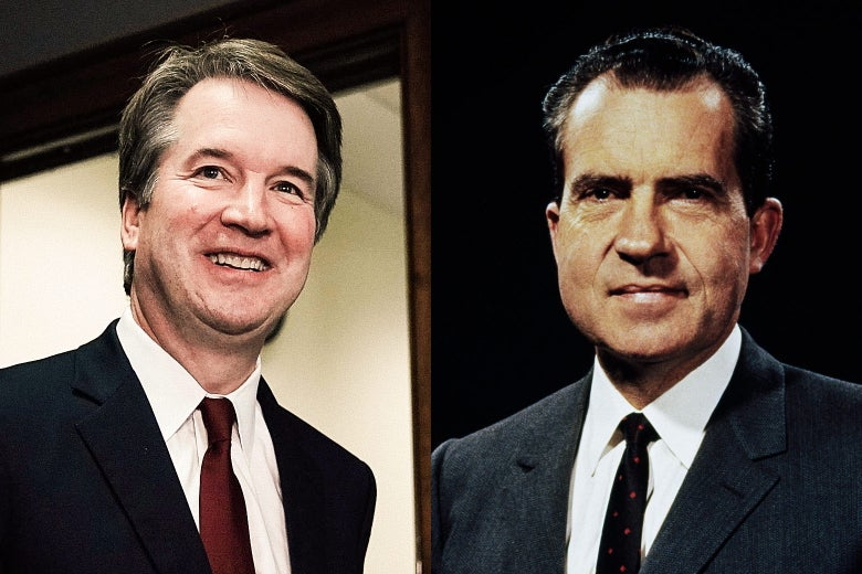 Side-by-side photo illustration of Judge Brett Kavanaugh and President Richard Nixon.