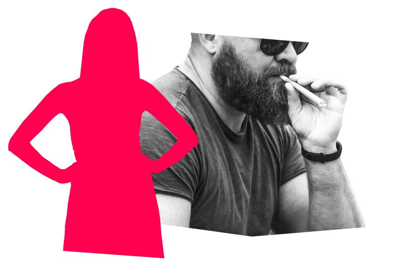 A silhouette of a woman with her hands on her hips, a man smoking marijuana.