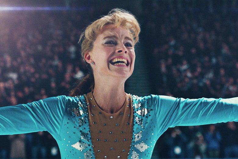 Margot Robbie as Tonya Harding in I, Tonya.