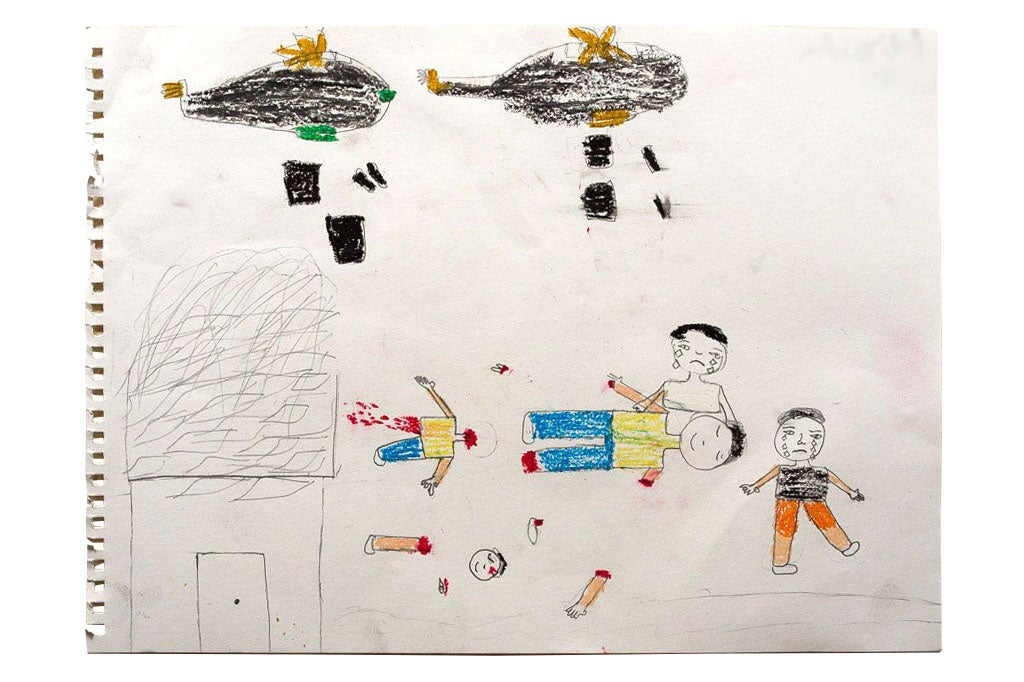 A Syrian child drew a picture of helicopters dropping bombs and children dying as a result. The surviving children are crying, while the deceased ones have smiles on their faces.
