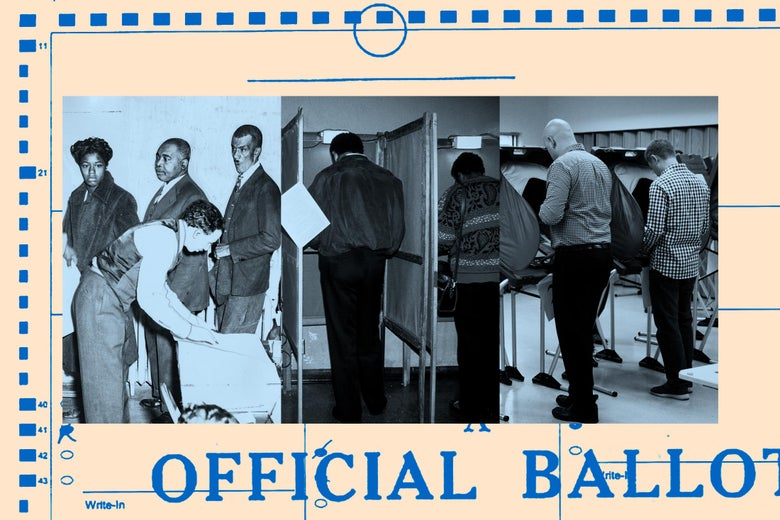 People cast their ballots in historical photos.